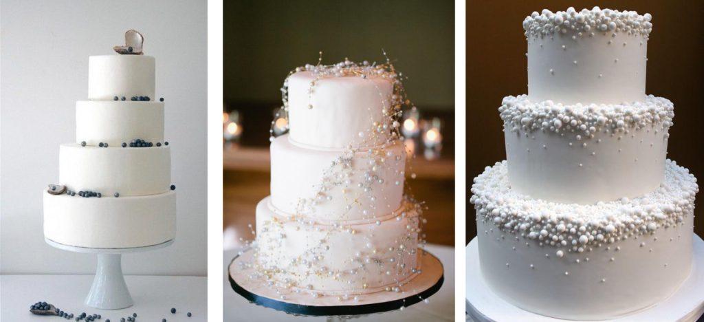 Tartas de boda con perlas