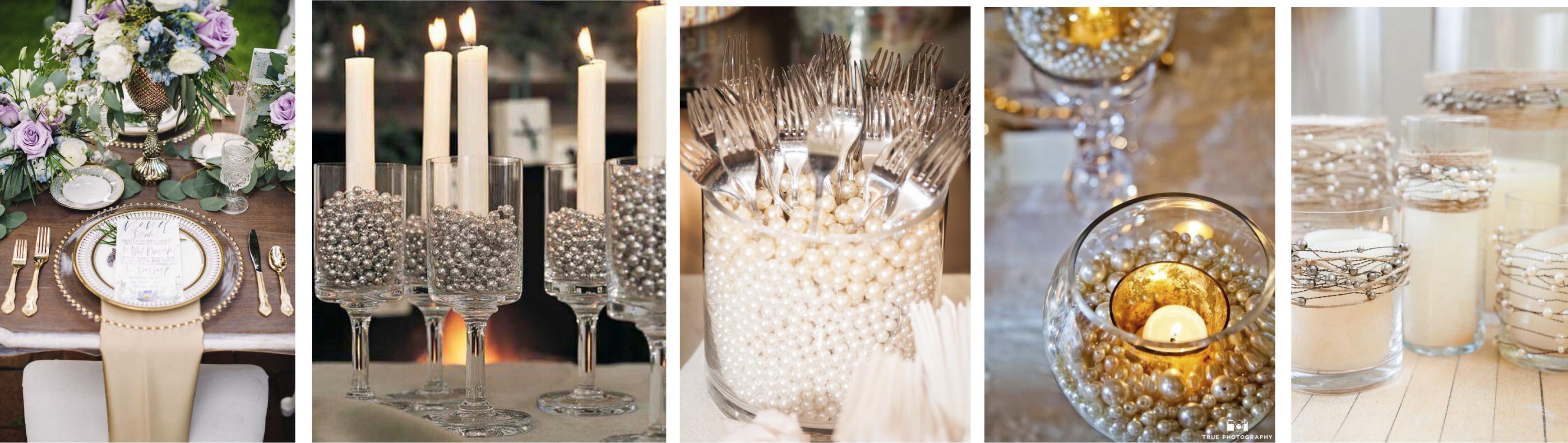 Decoración de bodas con perlas