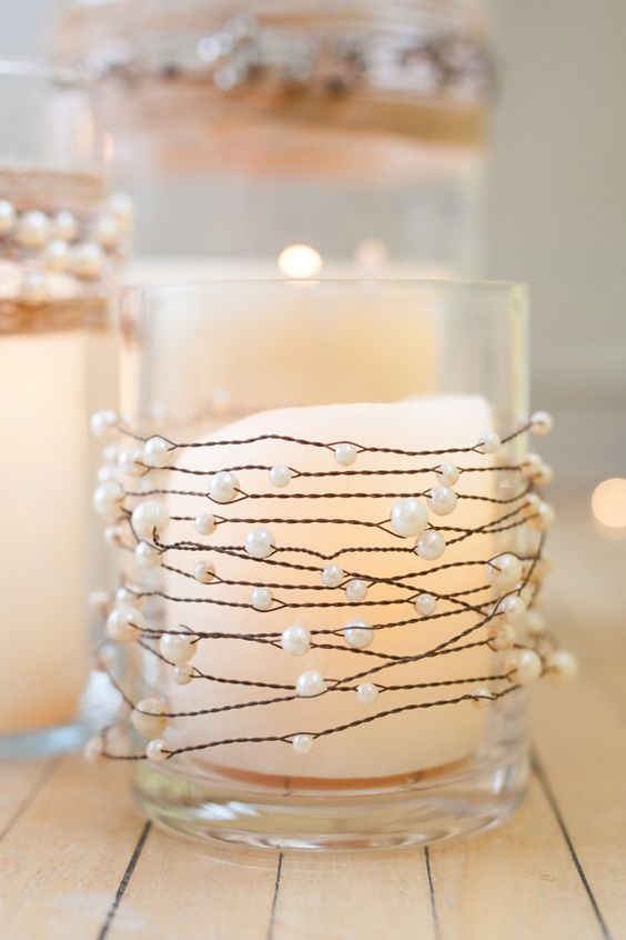 Decoración de bodas, perlas