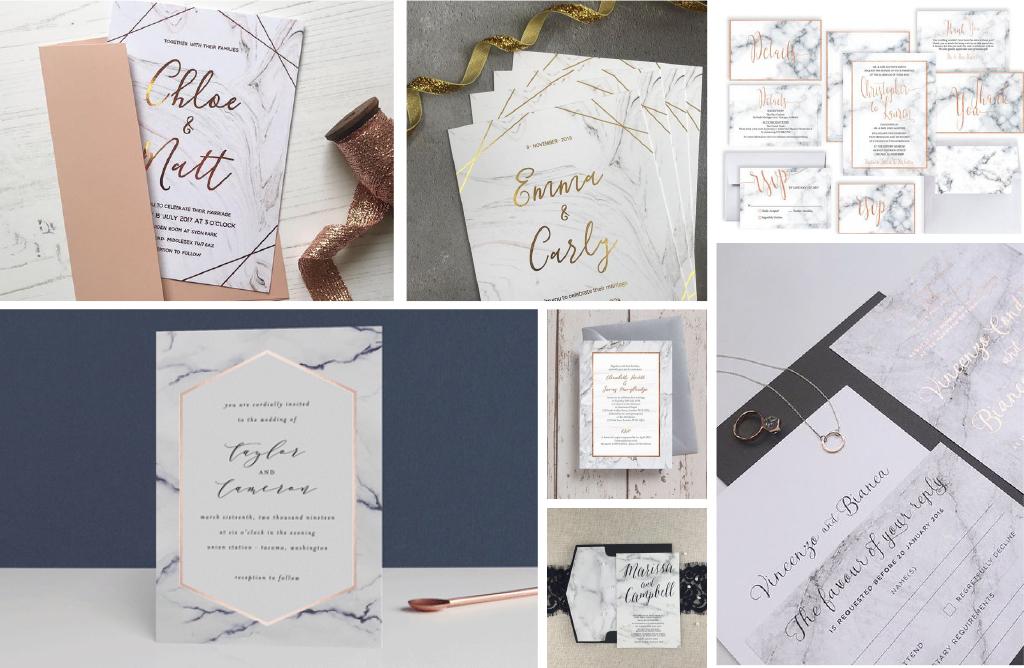 Invitaciones para bodas marmol