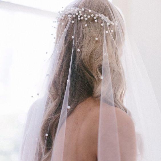 velos de novia con perlas