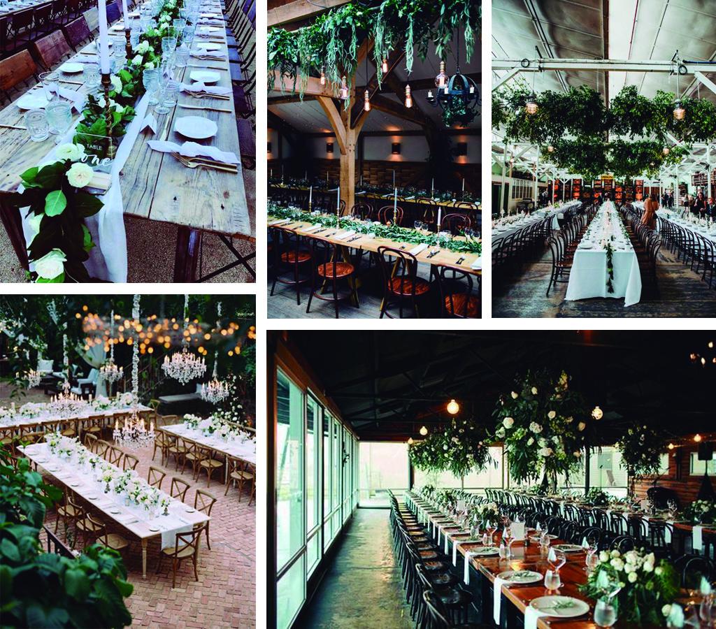 Mesas alargadas inspiración novias