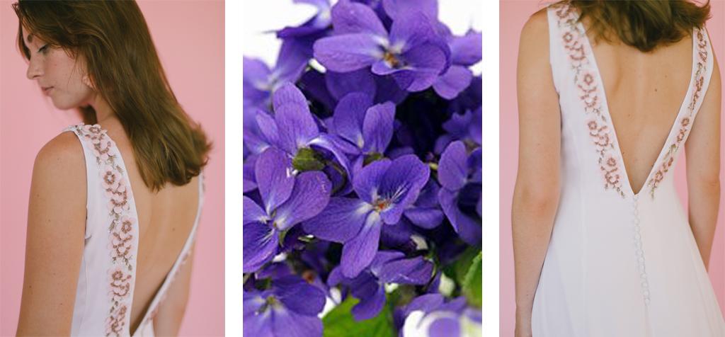 Vestido de novia con violetas
