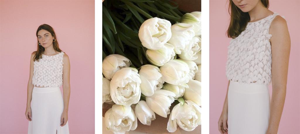 Vestido de novias con tulipanes
