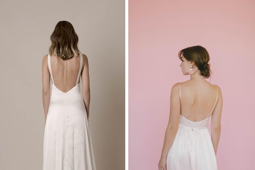 Espalda de novia abierta.