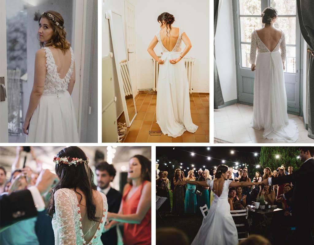 Espalda de novia en forma de pico