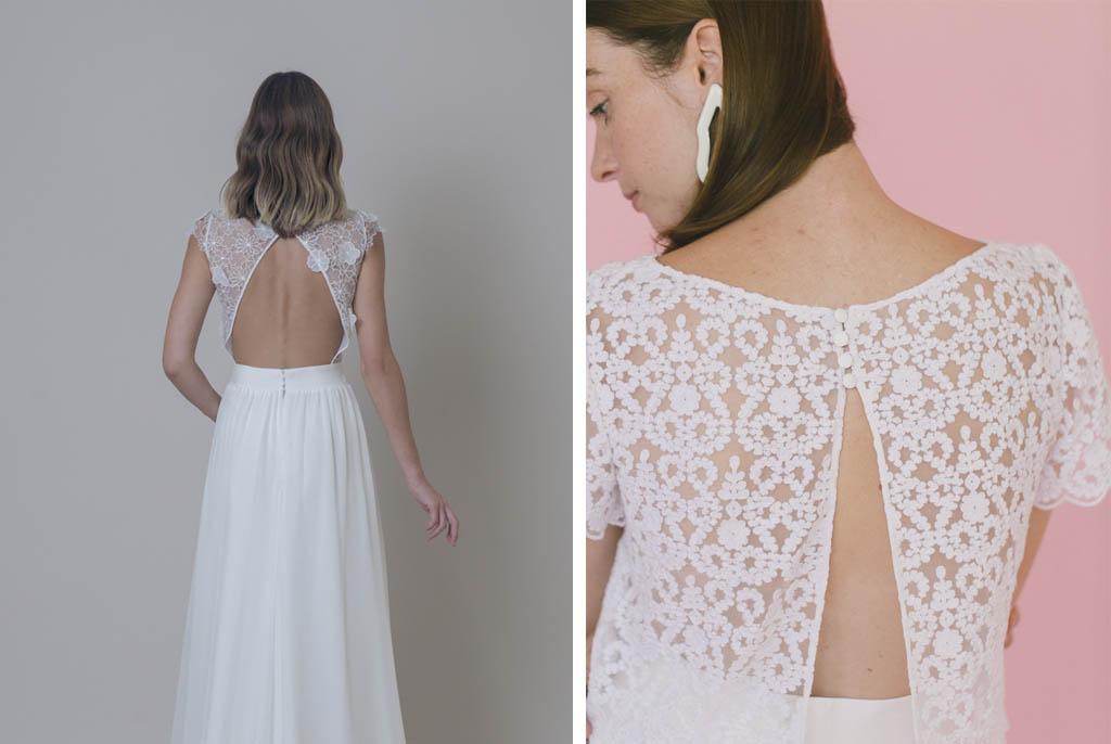 Espalda de novia en forma de triangulo.