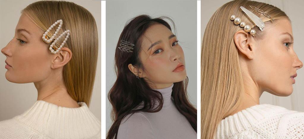 cabello suelto con horquillas de perlas