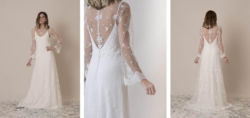 vestido de novia con bordados florales